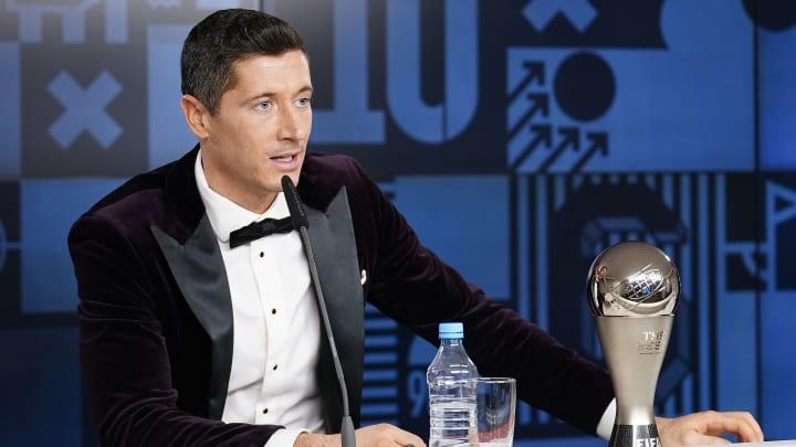 Robert Lewandowski with his Best FIFA Men's Player award