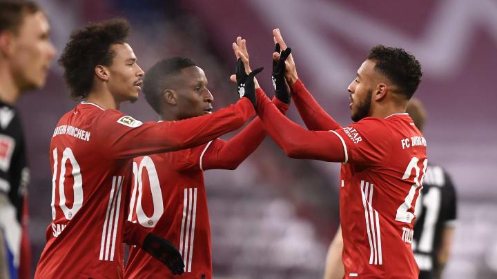 L'esultanza dei giocatori del Bayern Monaco