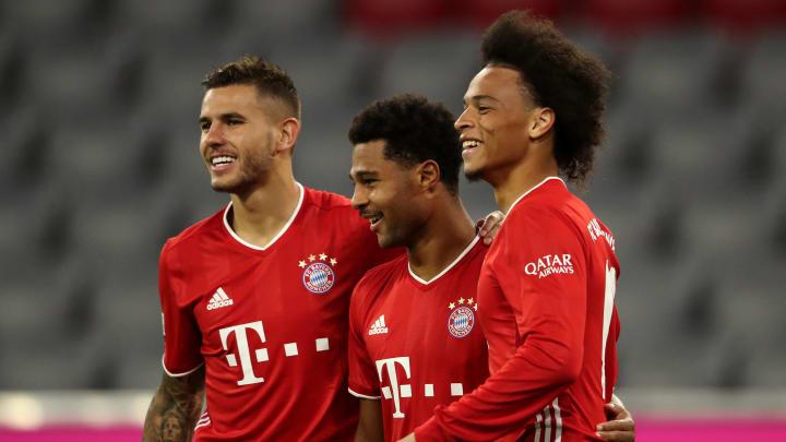 Hatten zum Bundesliga-Auftakt viel Grund zum Jubeln: Leroy Sané, Serge Gnabry und Lucas Hernandez