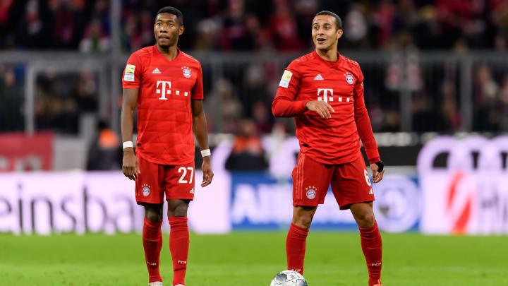 Während ein Verbleib von David Alaba immer wahrscheinlicher wird, deutet alles auf einen Abschied von Thiago beim FC Bayern hin (v.l.)