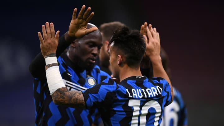 Lautaro Martinez celebrates his goal with Romelu Lukaku