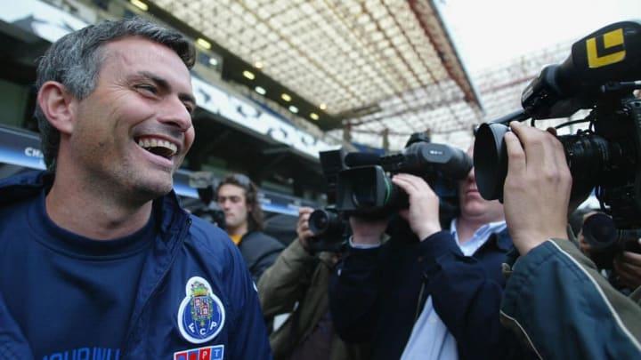 FC Porto's coach Jose Mourinho smiles at