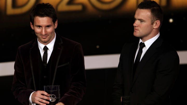 Lionel Messi and Wayne Rooney at the Ballon d'Or 2011 gala