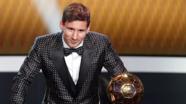 Messi receiving the 2012 Ballon d'Or award