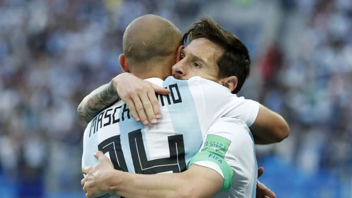 Messi and Mascherano embrace at World Cup 2018