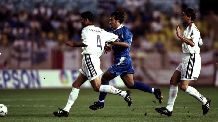 Fernando Hierro challenges Chelsea's Pierluigi Casiraghi in the UEFA Super Cup final in 1998