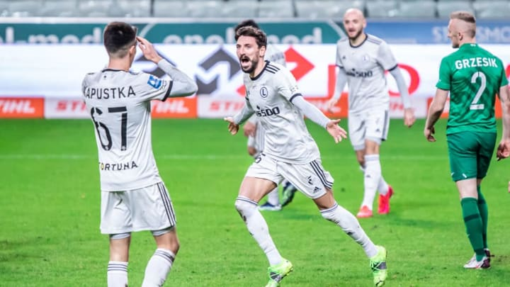 Filip Mladenovic of Legia celebrates a goal during the...