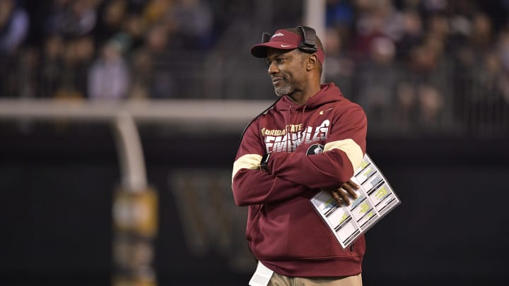 WINSTON SALEM, NORTH CAROLINA - OCTOBER 19: Head coach Willie Taggart of the Florida State Seminoles  watches his team during the first half of their game against the Wake Forest Demon Deacons at BB&T Field on October 19, 2019 in Winston Salem, North Carolina. (Photo by Grant Halverson/Getty Images)