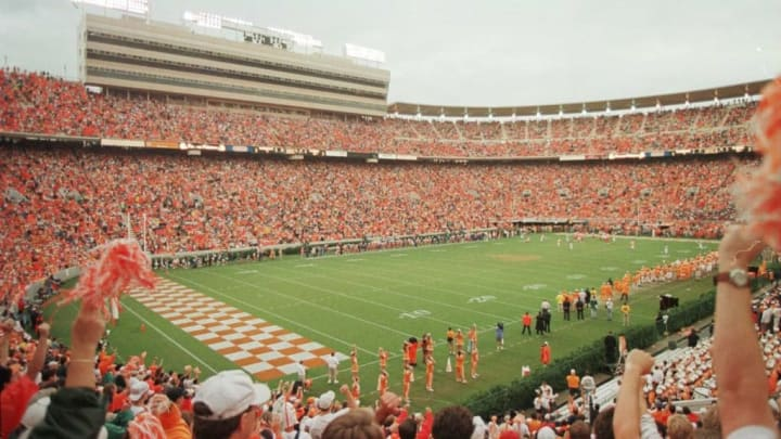 21 Sep 1996:  Over 107,600 fans, a new NCAA attendence record, were on hand for the Tennessee Volunteers 35-29 loss to the Florida Gators played in the new Tennessee facility at Neyland Stadium in Knoxville, Tennessee.  Mandatory Credit: Jonathan Daniel/A