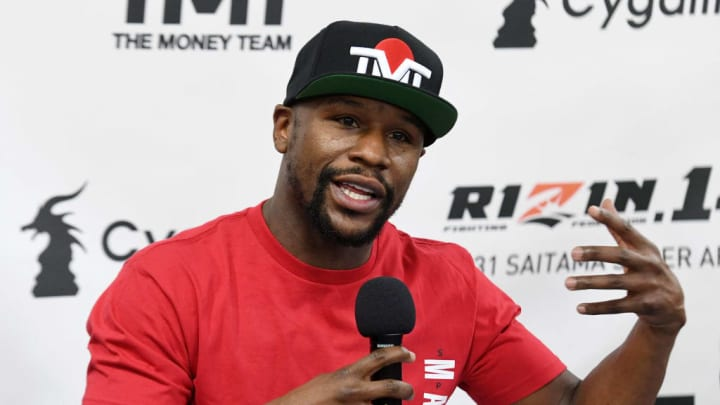 LAS VEGAS, NEVADA - DECEMBER 06:  Floyd Mayweather Jr. speaks during a news conference at the Mayweather Boxing Club on December 6, 2018 in Las Vegas, Nevada. Mayweather will meet Tenshin Nasukawa in a three-round boxing exhibition at Saitama Prefecture Super Arena in Saitama, Japan on December 31, 2018.  (Photo by Ethan Miller/Getty Images)
