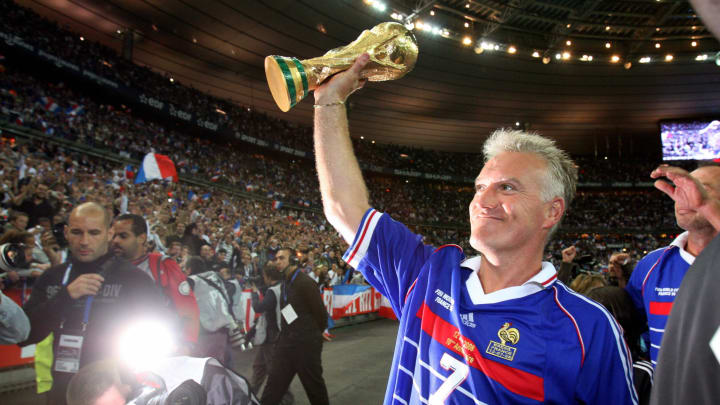 French player Didier Deschamps, holding