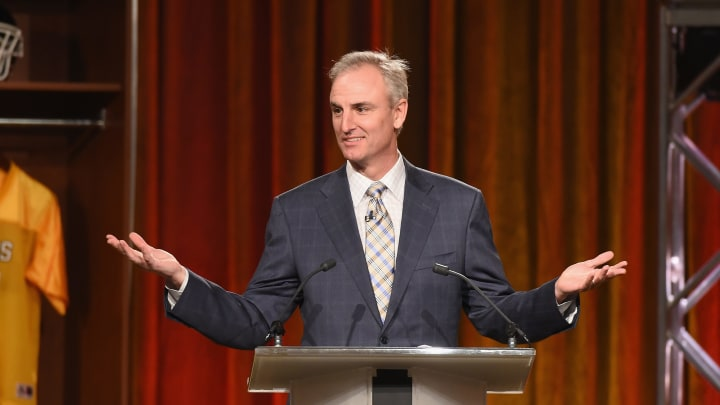PHOENIX, AZ - JANUARY 29:  Sports analyst Trey Wingo speaks onstage during the Friars Club Roast of Terry Bradshaw during the ESPN Super Bowl Roast at the Arizona Biltmore on January 29, 2015 in Phoenix, Arizona.  (Photo by Michael Buckner/Getty Images for Friars Club)