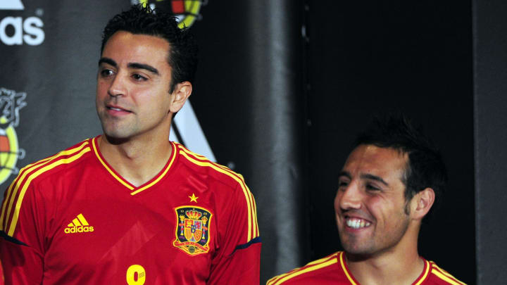 (From L) Spain's football players Raul A