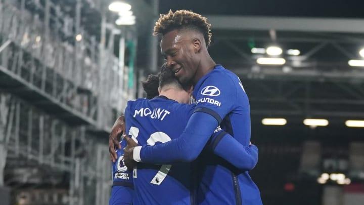 Tammy Abraham and Mason Mount celebrate the winning goal at Fulham