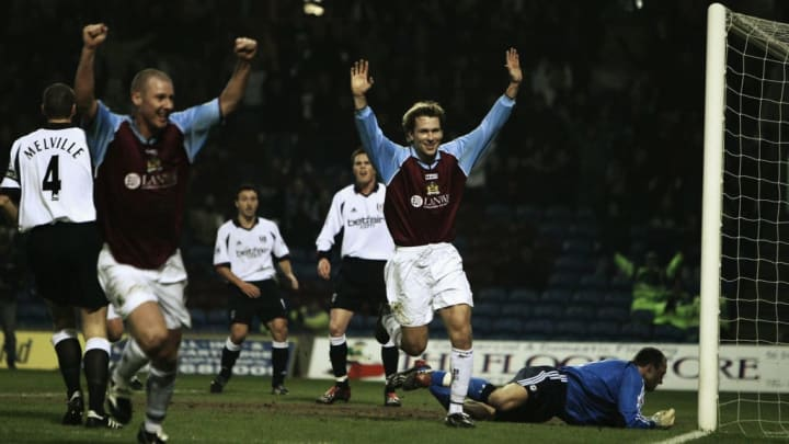 Gareth Taylor of Burnley celebrates scoring the first goal