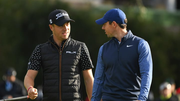 Justin Thomas and Rory McIlroy at the Genesis Open.