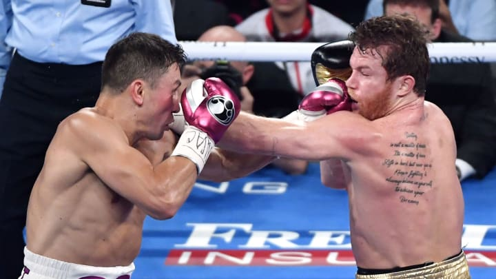 LAS VEGAS, NV - SEPTEMBER 15:  Gennady Golovkin (L) and Canelo Alvarez battle in the second round of their WBC/WBA middleweight title fight at T-Mobile Arena on September 15, 2018 in Las Vegas, Nevada. Alvarez won by majority decision.  (Photo by Ethan Miller/Getty Images)
