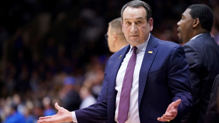 DURHAM, NORTH CAROLINA - NOVEMBER 15: Head coach Mike Krzyzewski of the Duke Blue Devils gestures towards the ref in the first half during their game against the Georgia State Panthers at Cameron Indoor Stadium on November 15, 2019 in Durham, North Carolina. (Photo by Jacob Kupferman/Getty Images)