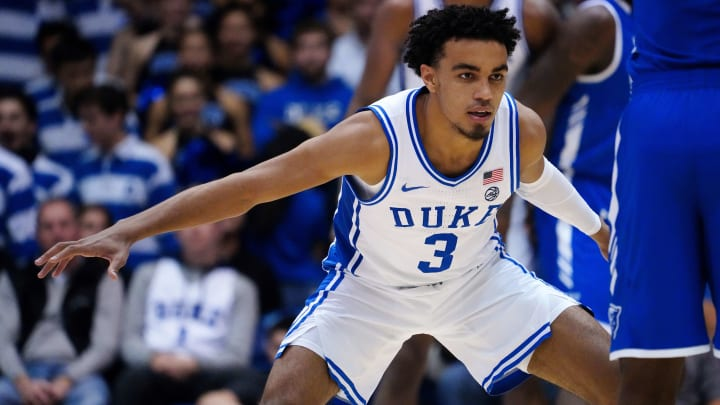 DURHAM, NORTH CAROLINA - NOVEMBER 15: Tre Jones #3 of the Duke Blue Devils during the second half during their game against the Georgia State Panthers at Cameron Indoor Stadium on November 15, 2019 in Durham, North Carolina. (Photo by Jacob Kupferman/Getty Images)