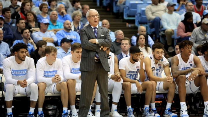 North Carolina Tar Hells head coach Roy Williams on the sideline in Chapel Hill
