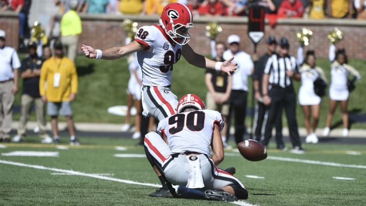 COLUMBIA, MO - SEPTEMBER 22: Place kicker Rodrigo Blankenship #98 of the Georgia Bulldogs kicks an extra point action against the Missouri Tigers at Memorial Stadium on September 22, 2018 in Columbia, Missouri. (Photo by Ed Zurga/Getty Images)