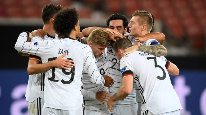 Germany celebrate their goal against Spain
