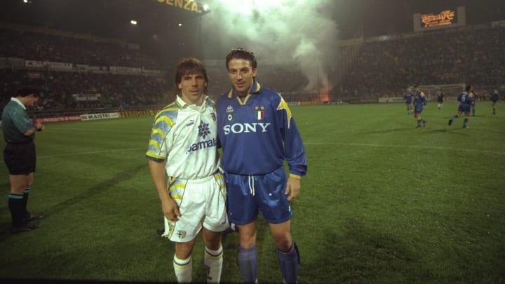 Gianfranco Zola of Parma and Alessandro Del Piero of Juventus