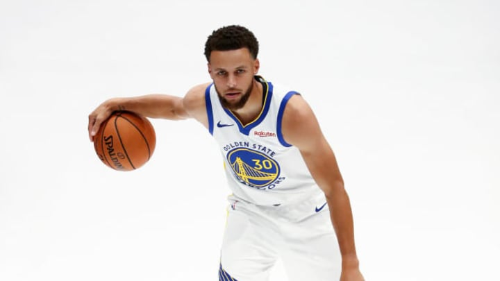 SAN FRANCISCO, CALIFORNIA - SEPTEMBER 30:  Stephen Curry #30 of the Golden State Warriors poses for a picture during the Golden State Warriors media day at Chase Center on September 30, 2019 in San Francisco, California. NOTE TO USER: User expressly acknowledges and agrees that, by downloading and or using this photograph, User is consenting to the terms and conditions of the Getty Images License Agreement.  (Photo by Ezra Shaw/Getty Images)