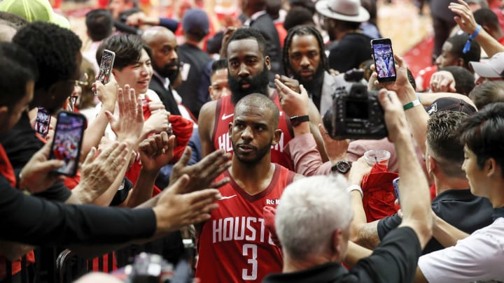 HOUSTON, TX - MAY 06:  Chris Paul #3 of the Houston Rockets and James Harden #13 walk to the locker room after Game Four of the Second Round of the 2019 NBA Western Conference Playoffs against the Golden State Warriors at Toyota Center on May 4, 2019 in Houston, Texas.  NOTE TO USER: User expressly acknowledges and agrees that, by downloading and or using this photograph, User is consenting to the terms and conditions of the Getty Images License Agreement.  (Photo by Tim Warner/Getty Images)