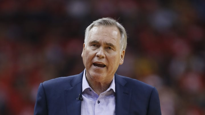HOUSTON, TEXAS - MAY 10: Head coach Mike D'Antoni of the Houston Rockets gestures during Game Six of the Western Conference Semifinals of the 2019 NBA Playoffs at Toyota Center on May 10, 2019 in Houston, Texas. NOTE TO USER: User expressly acknowledges and agrees that, by downloading and or using this photograph, User is consenting to the terms and conditions of the Getty Images License Agreement. (Photo by Bob Levey/Getty Images)