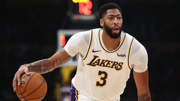 LOS ANGELES, CALIFORNIA - OCTOBER 16:  Anthony Davis #3 of the Los Angeles Lakers dribbles the ball during the second half of a game against the Golden State Warriors t Staples Center on October 16, 2019 in Los Angeles, California. (Photo by Sean M. Haffey/Getty Images)