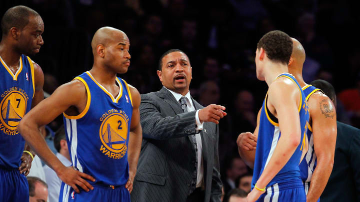 NEW YORK, NY - FEBRUARY 27:  (NEW YORK DAILIES OUT)    Head coach Mark Jackson of the Golden State Warriors in action against the New York Knicks at Madison Square Garden on February 27, 2013  in New York City. The Knicks defeated the Warriors 109-105. NOTE TO USER: User expressly acknowledges and agrees that, by downloading and/or using this Photograph, user is consenting to the terms and conditions of the Getty Images License Agreement.  (Photo by Jim McIsaac/Getty Images)