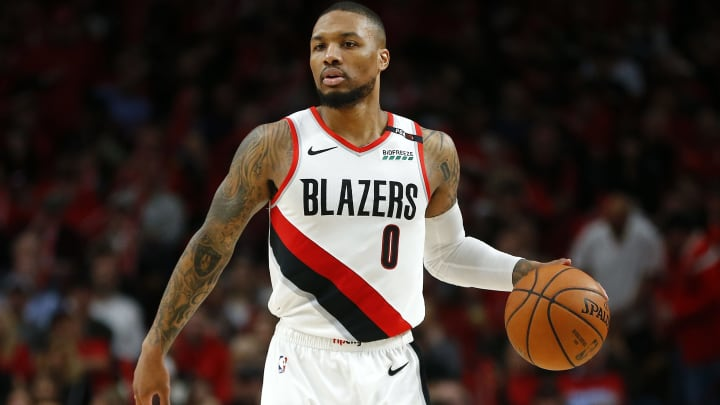 PORTLAND, OREGON - MAY 20: Damian Lillard #0 of the Portland Trail Blazers handles the ball during the second half against the Golden State Warriors in game four of the NBA Western Conference Finals at Moda Center on May 20, 2019 in Portland, Oregon. NOTE TO USER: User expressly acknowledges and agrees that, by downloading and or using this photograph, User is consenting to the terms and conditions of the Getty Images License Agreement. (Photo by Jonathan Ferrey/Getty Images)