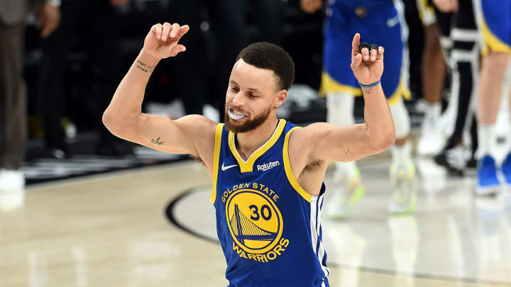 PORTLAND, OREGON - MAY 20: Stephen Curry #30 of the Golden State Warriors celebrates defeating the Portland Trail Blazers 119-117 during overtime in game four of the NBA Western Conference Finals to advance to the 2019 NBA Finals at Moda Center on May 20, 2019 in Portland, Oregon. NOTE TO USER: User expressly acknowledges and agrees that, by downloading and or using this photograph, User is consenting to the terms and conditions of the Getty Images License Agreement. (Photo by Steve Dykes/Getty Images)