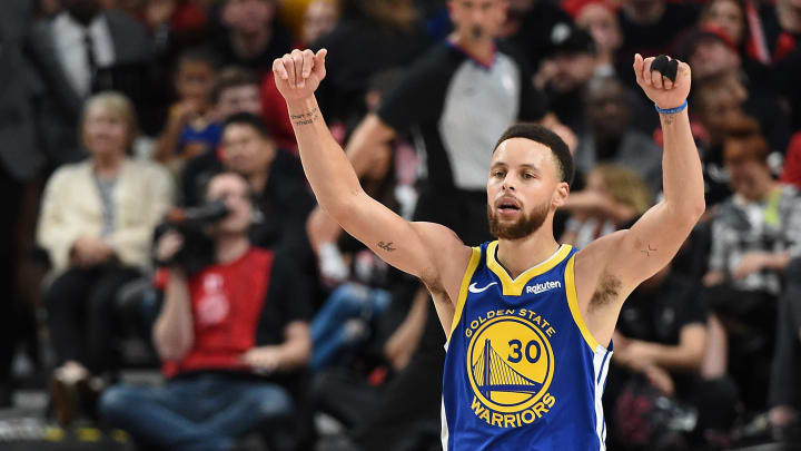 PORTLAND, OREGON - MAY 18: Stephen Curry #30 of the Golden State Warriors reacts during the second half against the Portland Trail Blazers in game three of the NBA Western Conference Finals at Moda Center on May 18, 2019 in Portland, Oregon. NOTE TO USER: User expressly acknowledges and agrees that, by downloading and or using this photograph, User is consenting to the terms and conditions of the Getty Images License Agreement. (Photo by Steve Dykes/Getty Images)