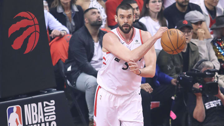 TORONTO,ONTARIO - JUNE 10:  Marc Gasol #33 of the Toronto Raptors starts a play against the Golden State Warriors during Game Five of the 2019 NBA Finals at Scotiabank Arena on June 10, 2019 in Toronto, Canada. NOTE TO USER: User expressly acknowledges and agrees that, by downloading and or using this photograph, User is consenting to the terms and conditions of the Getty Images License Agreement. (Photo by Claus Andersen/Getty Images)