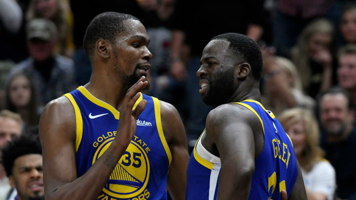 SALT LAKE CITY, UT - OCTOBER 19: Kevin Durant #35 of the Golden State Warriors tries to calm down teammate Draymond Green #23 after a foul in the second half of a NBA game against the Utah Jazz at Vivint Smart Home Arena on October 19, 2018 in Salt Lake City, Utah. NOTE TO USER: User expressly acknowledges and agrees that, by downloading and or using this photograph, User is consenting to the terms and conditions of the Getty Images License Agreement. (Photo by Gene Sweeney Jr./Getty Images)