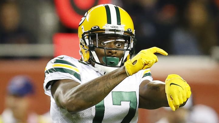 CHICAGO, ILLINOIS - SEPTEMBER 05: Davante Adams #17 of the Green Bay Packers gestures  during the game against the Chicago Bears at Soldier Field on September 05, 2019 in Chicago, Illinois. (Photo by Nuccio DiNuzzo/Getty Images)
