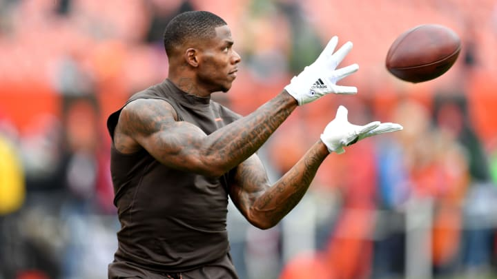 CLEVELAND, OH - DECEMBER 10: Josh Gordon #12 of the Cleveland Browns catches a ball durning warm-ups before the game against against the Green Bay Packers at FirstEnergy Stadium on December 10, 2017 in Cleveland, Ohio. (Photo by Jason Miller/Getty Images)