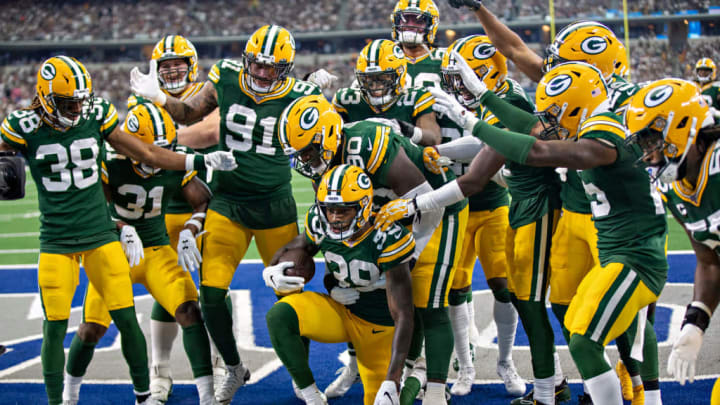 ARLINGTON, TX - OCTOBER 6:  Chandon Sullivan #39 of the Green Bay Packers celebrates with teammates after intercepting a pass during a game against the Dallas Cowboys at AT&T Stadium on October 6, 2019 in Arlington, Texas. (Photo by Wesley Hitt/Getty Images)