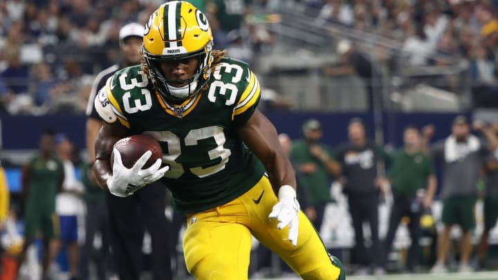 ARLINGTON, TEXAS - OCTOBER 06:  Aaron Jones #33 of the Green Bay Packers at AT&T Stadium on October 06, 2019 in Arlington, Texas. (Photo by Ronald Martinez/Getty Images)