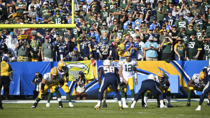 CARSON, CA - NOVEMBER 03: Green Bay Packers and Los Angeles Chargers fans watch the action at Dignity Health Sports Park on November 3, 2019 in Carson, California. Chargers won 26-11. (Photo by John McCoy/Getty Images)