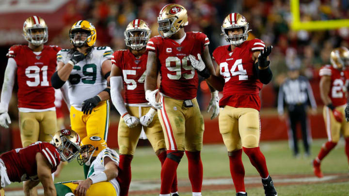 DeForest Buckner lines up for another play in a game against the Green Bay Packers.