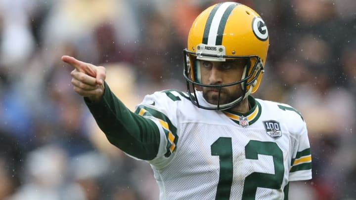LANDOVER, MD - SEPTEMBER 23: Aaron Rodgers #12 of the Green Bay Packers celebrates after throwing a second quarter touchdown pass against the Washington Redskins at FedExField on September 23, 2018 in Landover, Maryland. (Photo by Rob Carr/Getty Images)