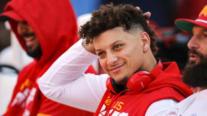 KANSAS CITY, MO - OCTOBER 27: Patrick Mahomes #15 of the Kansas City Chiefs sits on the player bench during player warmups prior to the game against the Green Bay Packers at Arrowhead Stadium on October 27, 2019 in Kansas City, Missouri. (Photo by David Eulitt/Getty Images)