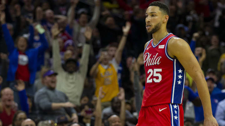 PHILADELPHIA, PA - OCTOBER 08: Ben Simmons #25 of the Philadelphia 76ers reacts after making a three point basket in the second quarter against the Guangzhou Long-Lions during the preseason game at the Wells Fargo Center on October 8, 2019 in Philadelphia, Pennsylvania. NOTE TO USER: User expressly acknowledges and agrees that, by downloading and or using this photograph, User is consenting to the terms and conditions of the Getty Images License Agreement.(Photo by Mitchell Leff/Getty Images)