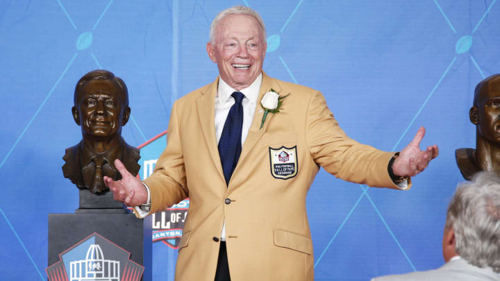 CANTON, OH - AUGUST 05: Dallas Cowboys owner Jerry Jones reacts following the Pro Football Hall of Fame Enshrinement Ceremony at Tom Benson Hall of Fame Stadium on August 5, 2017 in Canton, Ohio. (Photo by Joe Robbins/Getty Images)