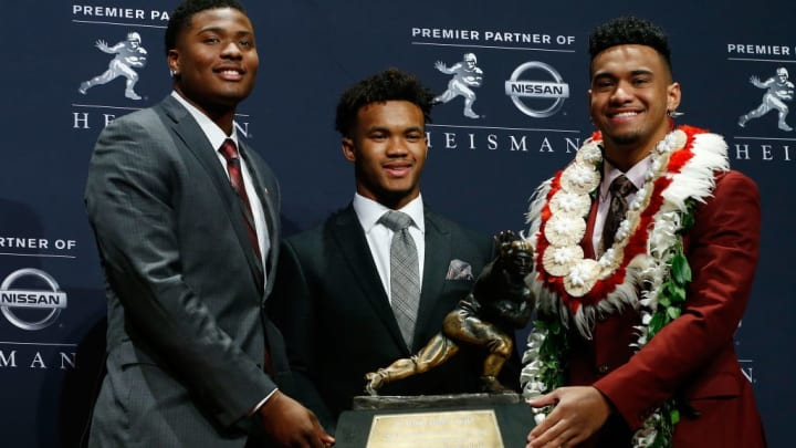 NEW YORK, NY - DECEMBER 08:  Dwayne Haskins of Ohio State, Kyler Murray of Oklahoma, and Tua Tagovailoa of Alabama pose for a photo at the press conference for the 2018 Heisman Trophy Presentationon December 8, 2018 in New York City.  (Photo by Mike Stobe/Getty Images)