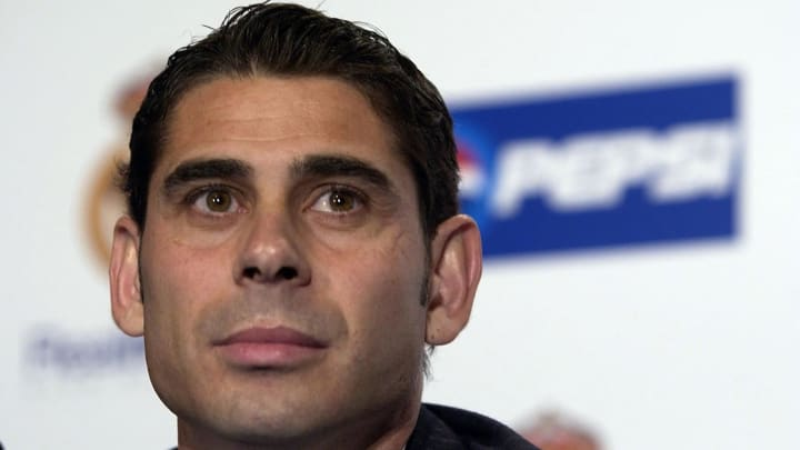 Hierro of Real Madrid talks to the press