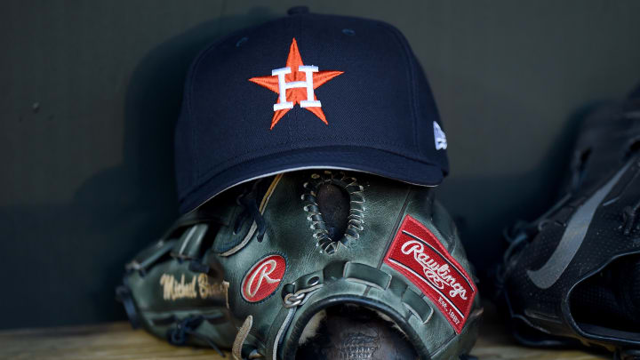 BALTIMORE, MD - AUGUST 09:  A Houston Astros hat in the dugout before the game against the Baltimore Orioles at Oriole Park at Camden Yards on August 9, 2019 in Baltimore, Maryland.  (Photo by G Fiume/Getty Images)